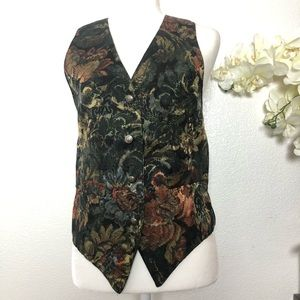 Express Vintage Floral Tapestry Tie Back Vest